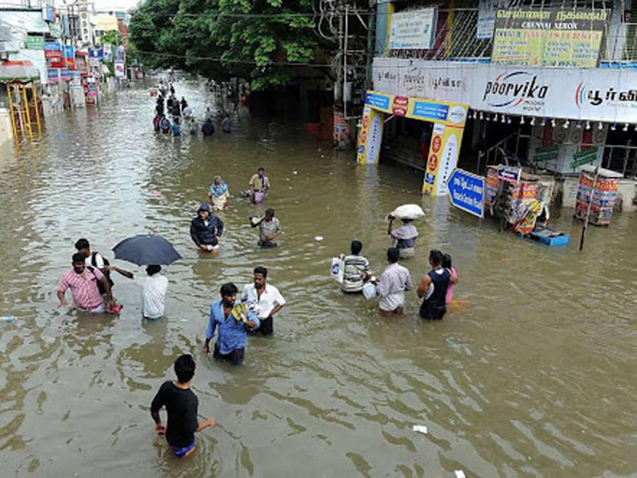 Überschwemmung in Mammalapuram während der Monsunzeit